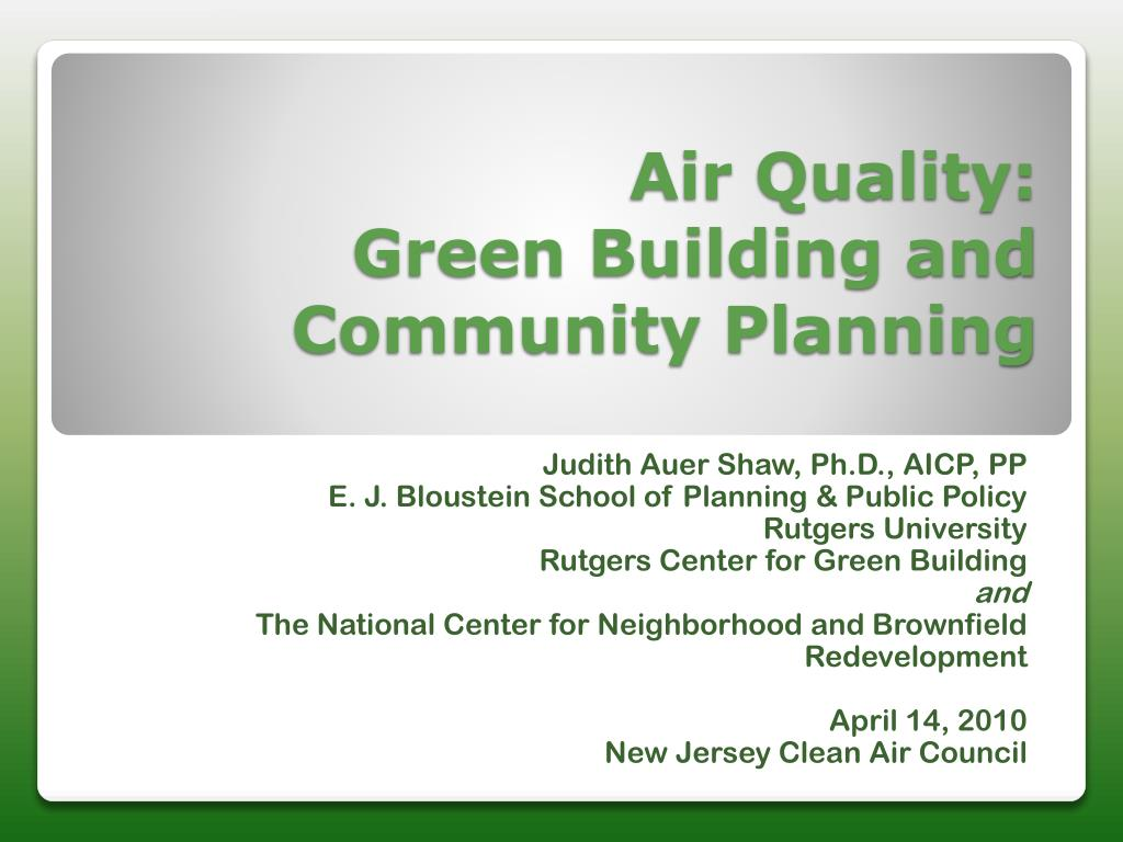 air quality green building and community planning l.