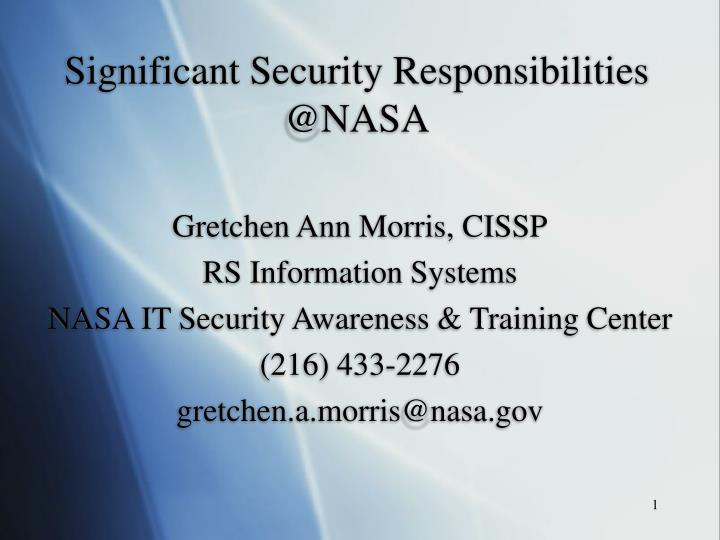 Significant security responsibilities @nasa