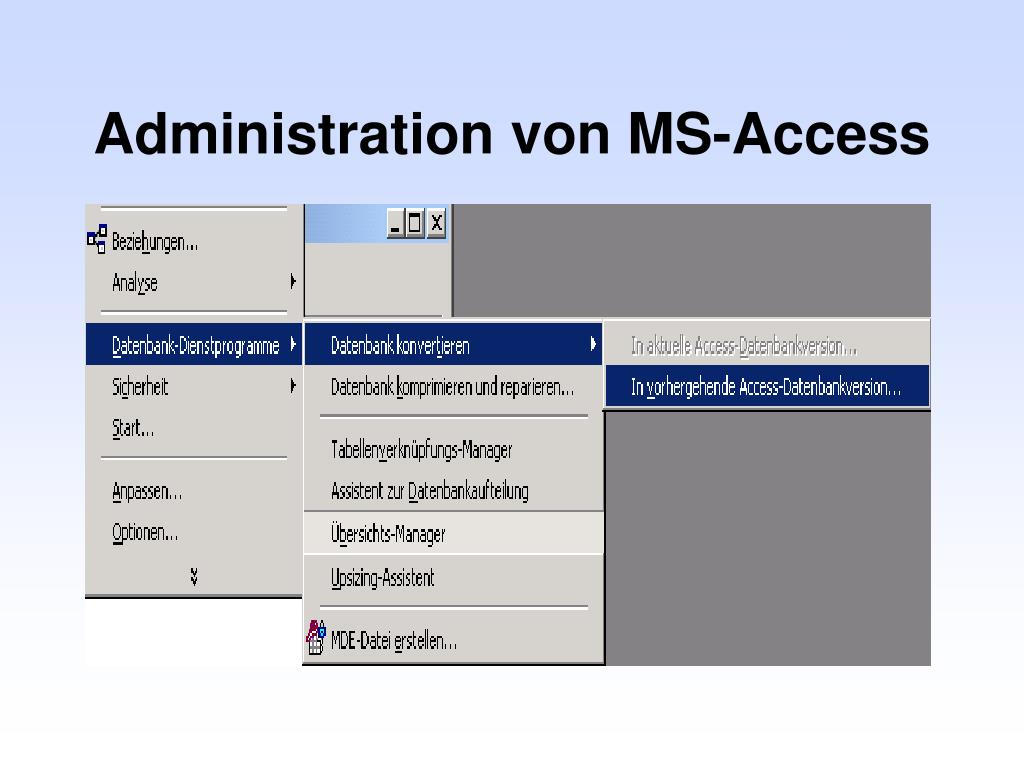 Administration von MS-Access