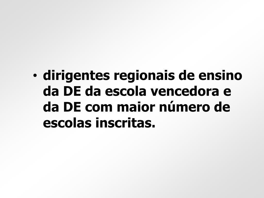 dirigentes regionais de ensino da DE da escola vencedora e da DE com maior número de escolas inscritas.