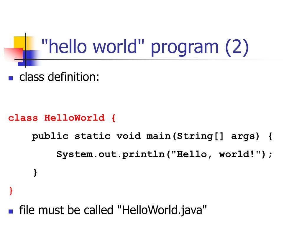 """hello world"" program (2)"