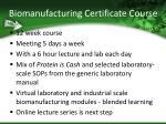 biomanufacturing certificate course