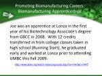 promoting biomanufacturing careers biomanufacturing apprenticeships