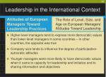 leadership in the international context21