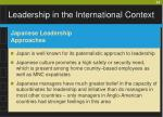leadership in the international context23