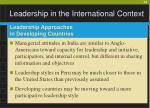 leadership in the international context35