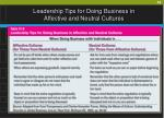 leadership tips for doing business in affective and neutral cultures49