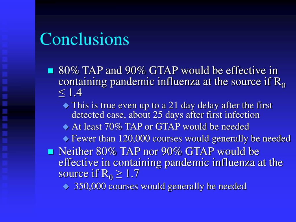80% TAP and 90% GTAP would be effective in containing pandemic influenza at the source if R