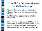 g a m the name some gam landmarks