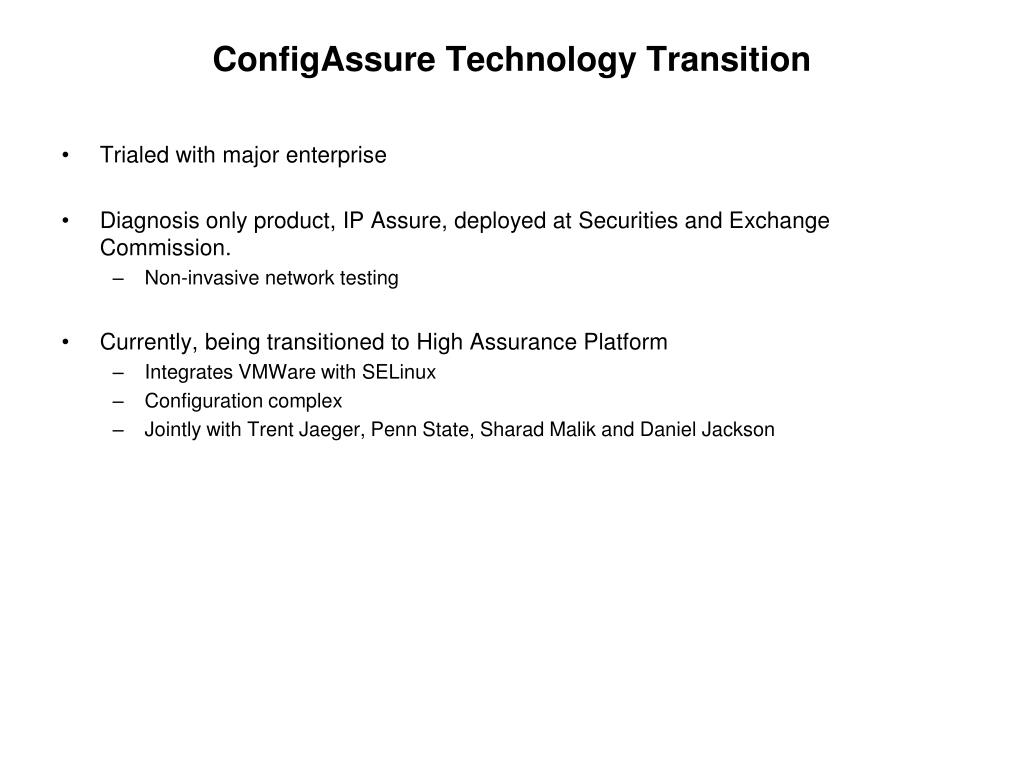 ConfigAssure Technology Transition