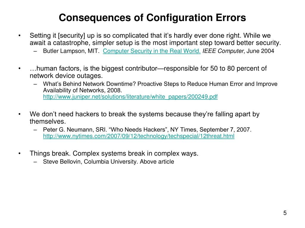 Consequences of Configuration Errors