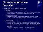 choosing appropriate formulas