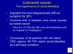 colorectal cancer the significance of rectal bleeding