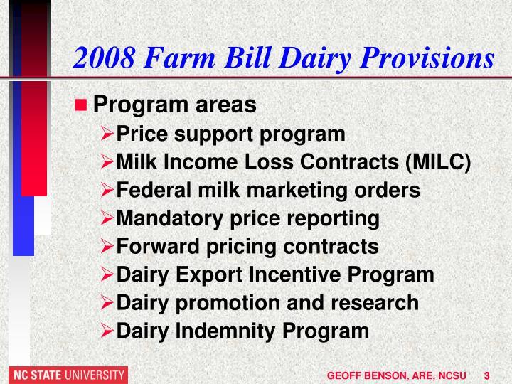 2008 farm bill dairy provisions