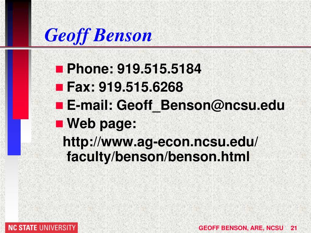 Geoff Benson
