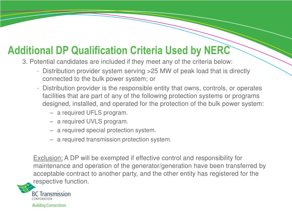 Additional DP Qualification Criteria Used by NERC
