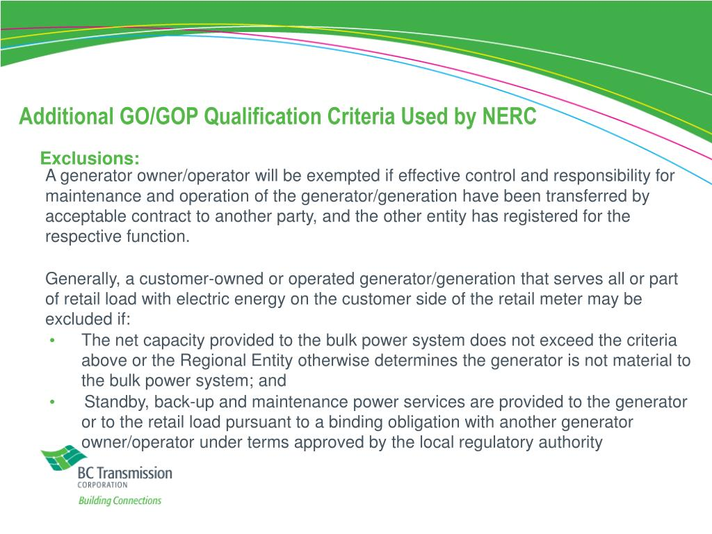 Additional GO/GOP Qualification Criteria Used by NERC