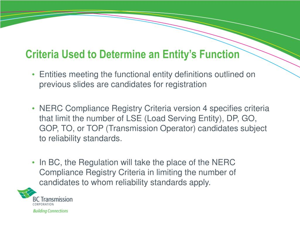 Criteria Used to Determine an Entity's Function