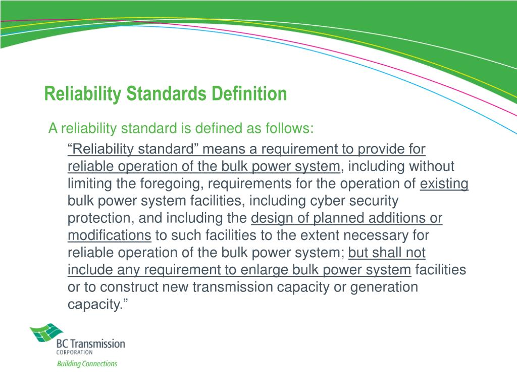 Reliability Standards Definition