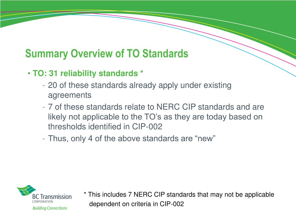 Summary Overview of TO Standards