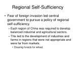 regional self sufficiency