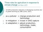 three roles for agriculture in response to climate change von braun 2007