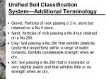 unified soil classification system additional terminology