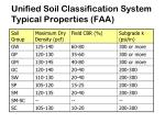 unified soil classification system typical properties faa