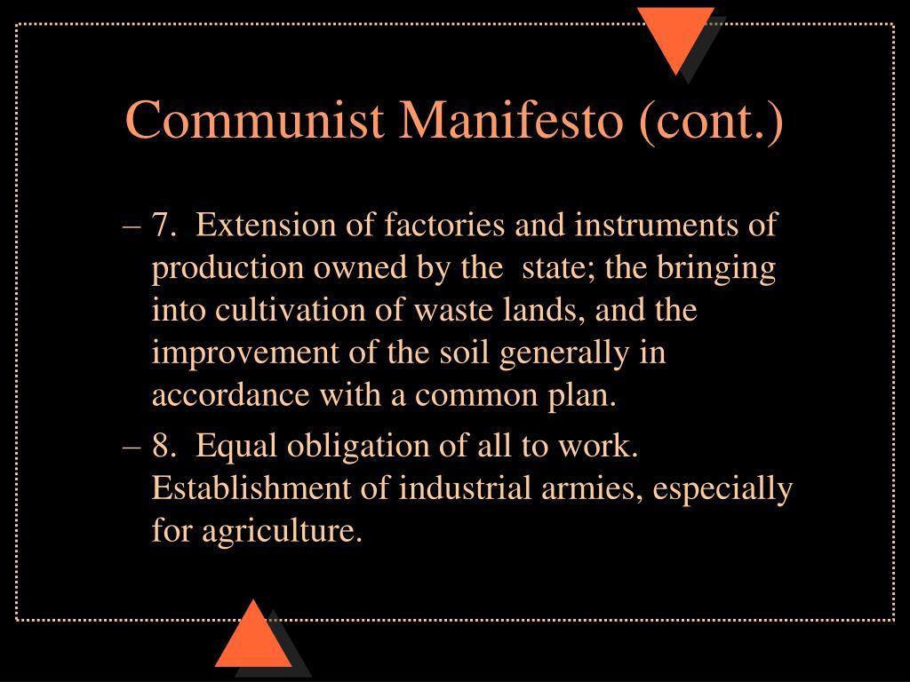 Communist Manifesto (cont.)