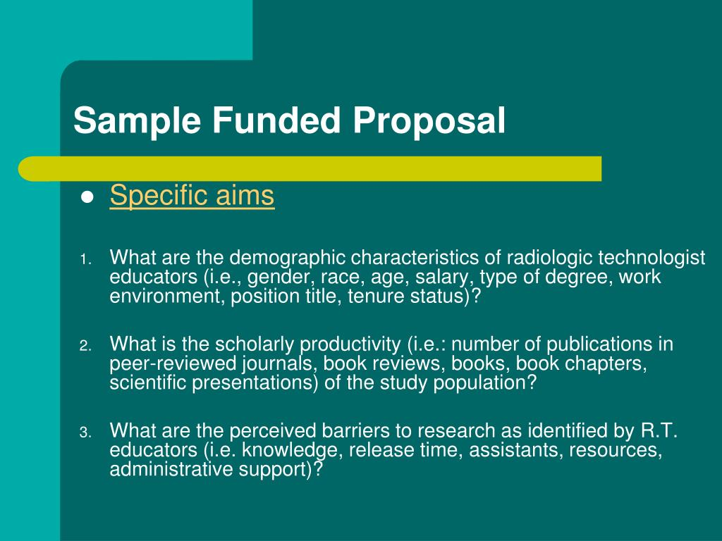 Sample Funded Proposal