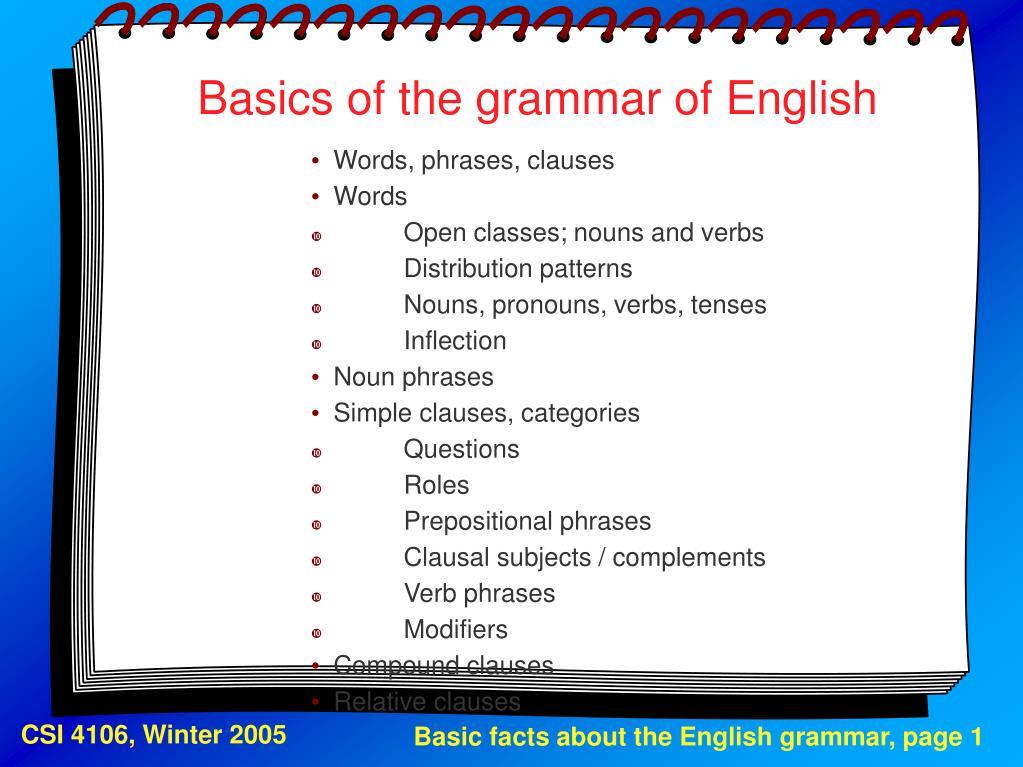 basics of the grammar of english l.