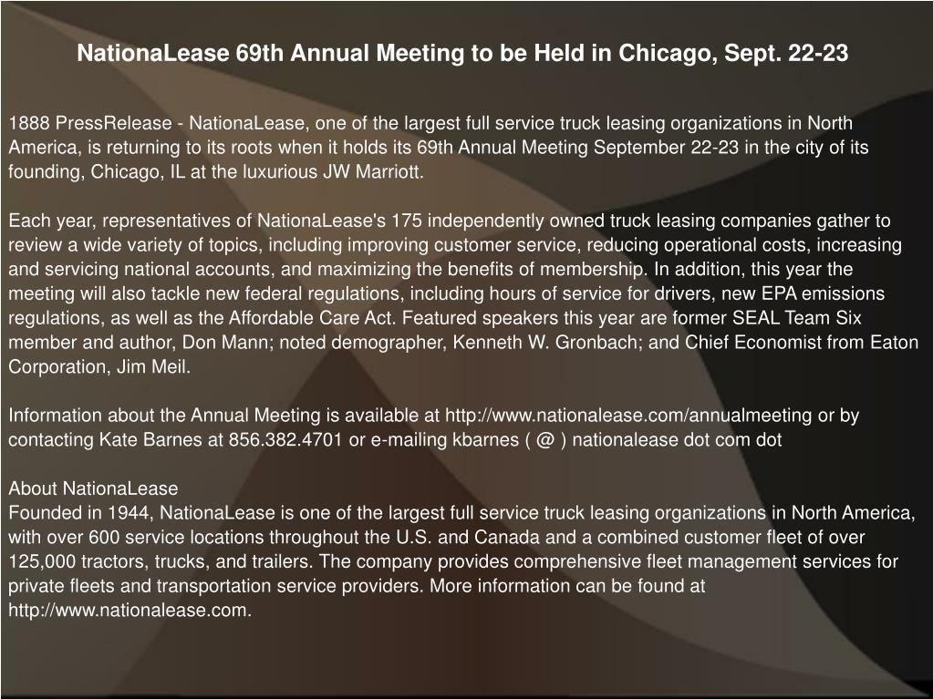 NationaLease 69th Annual Meeting to be Held in Chicago, Sept. 22-23