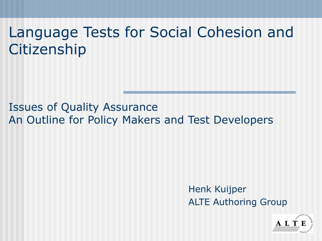 Language Tests for Social Cohesion and Citizenship