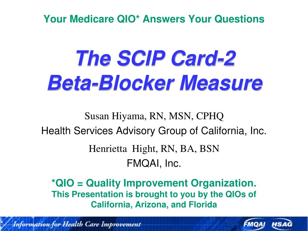 your medicare qio answers your questions the scip card 2 beta blocker measure l.