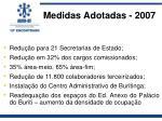 medidas adotadas 2007