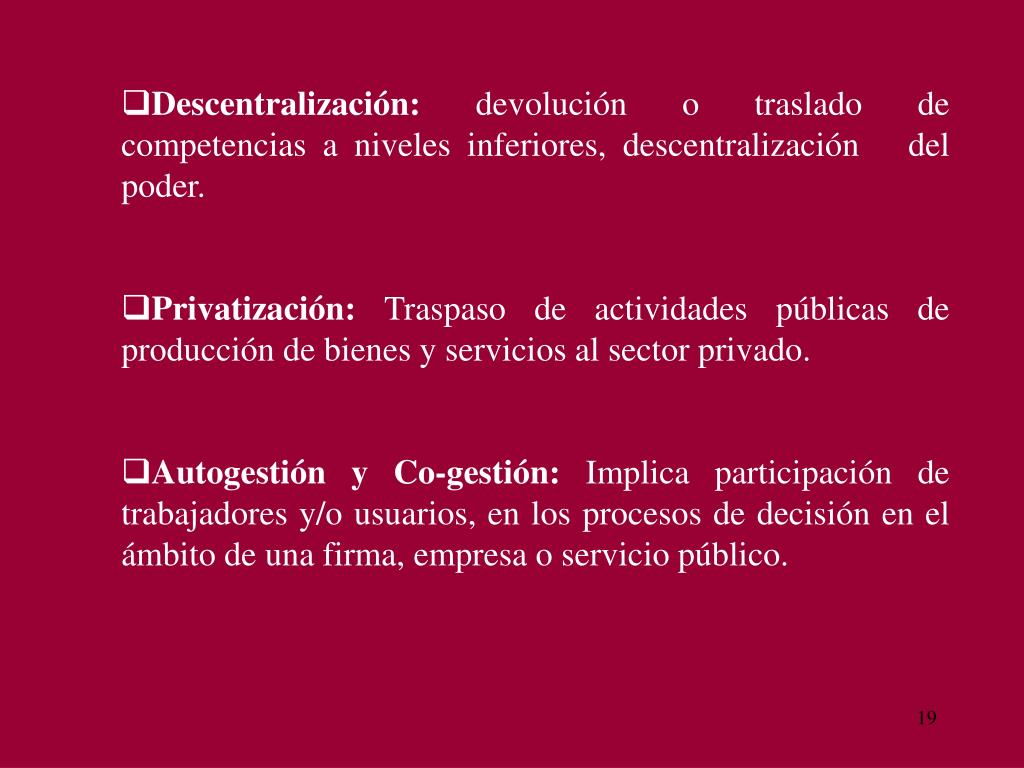 Descentralización: