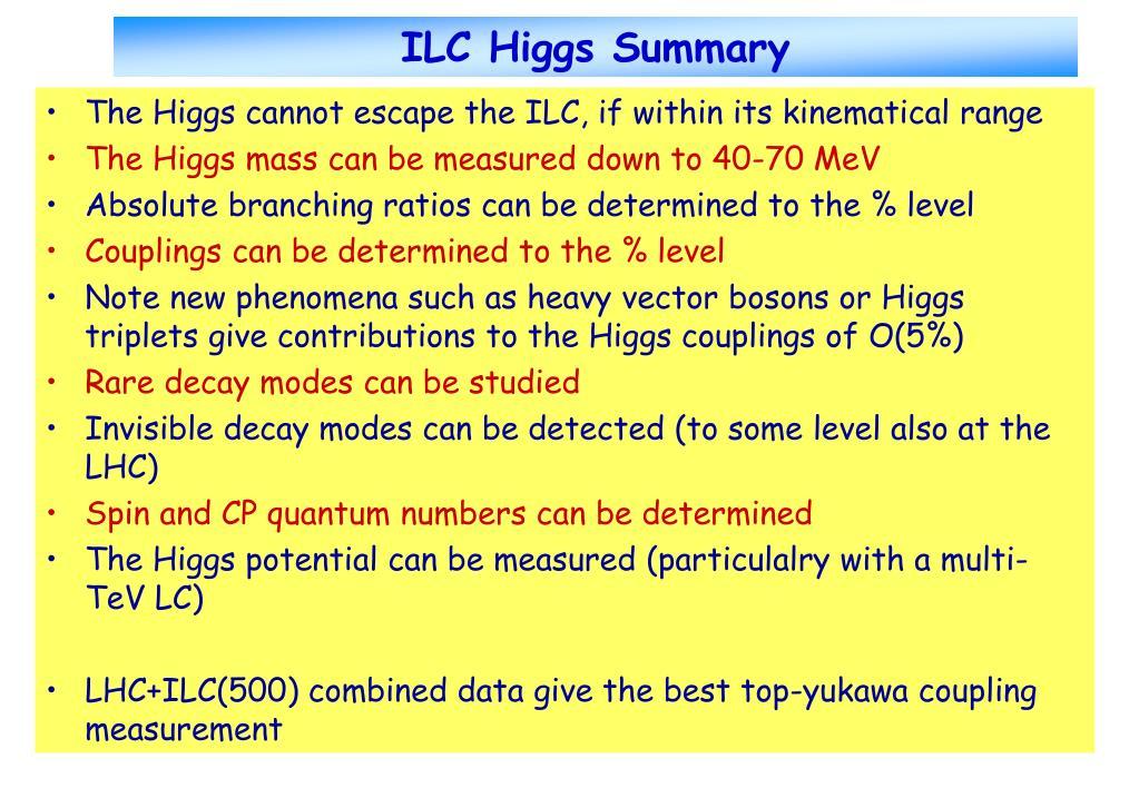 ILC Higgs Summary