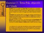 exercice 3 tetra pak objectifs de l tude