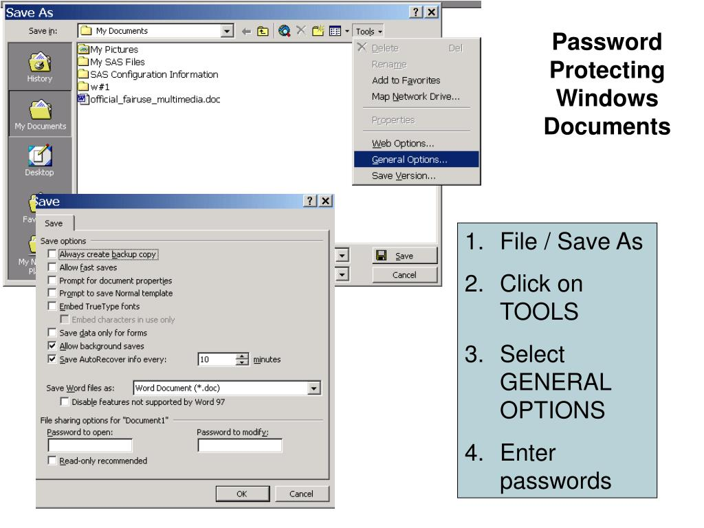 Password Protecting Windows Documents