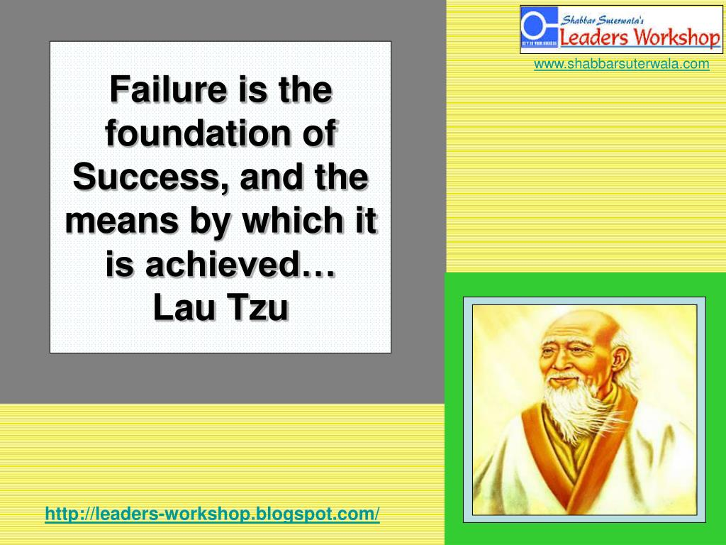 Failure is the foundation of Success, and the means by which it is achieved…