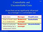 controllable and uncontrollable costs
