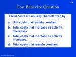 cost behavior question