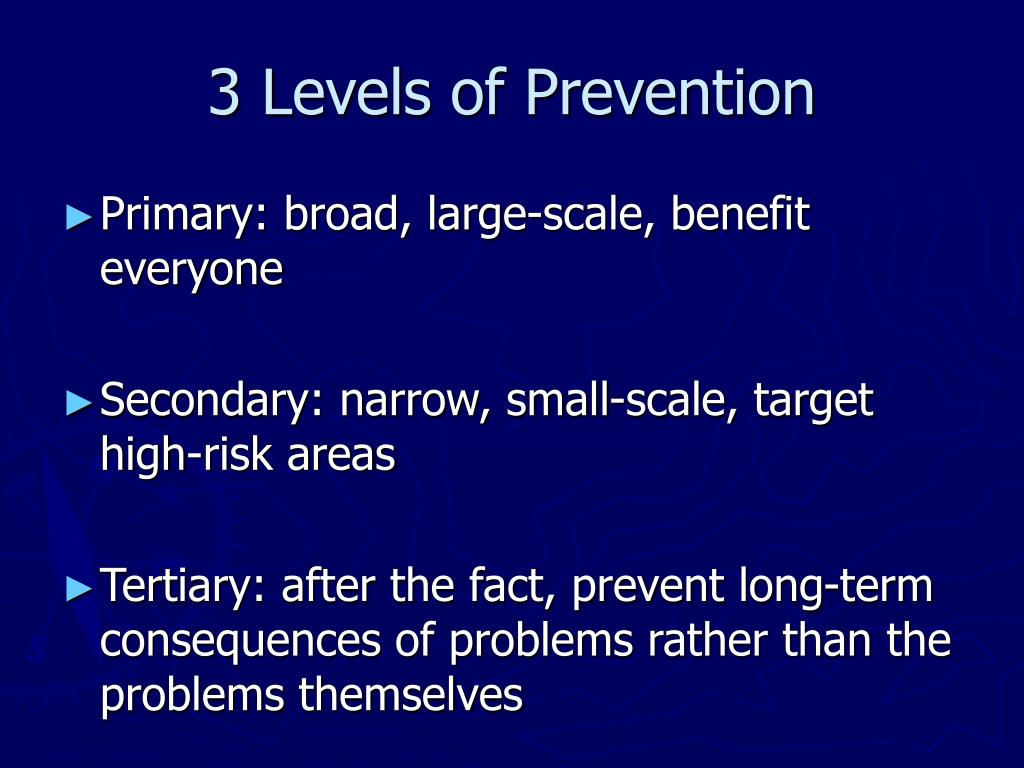 3 Levels of Prevention