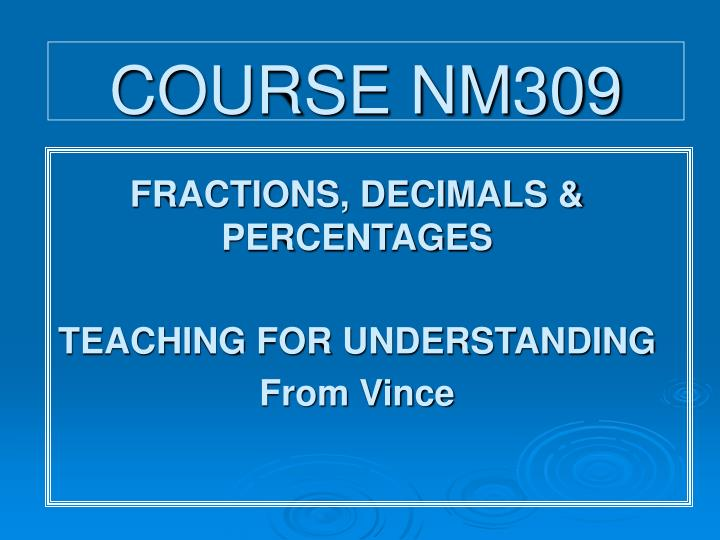 Course nm309