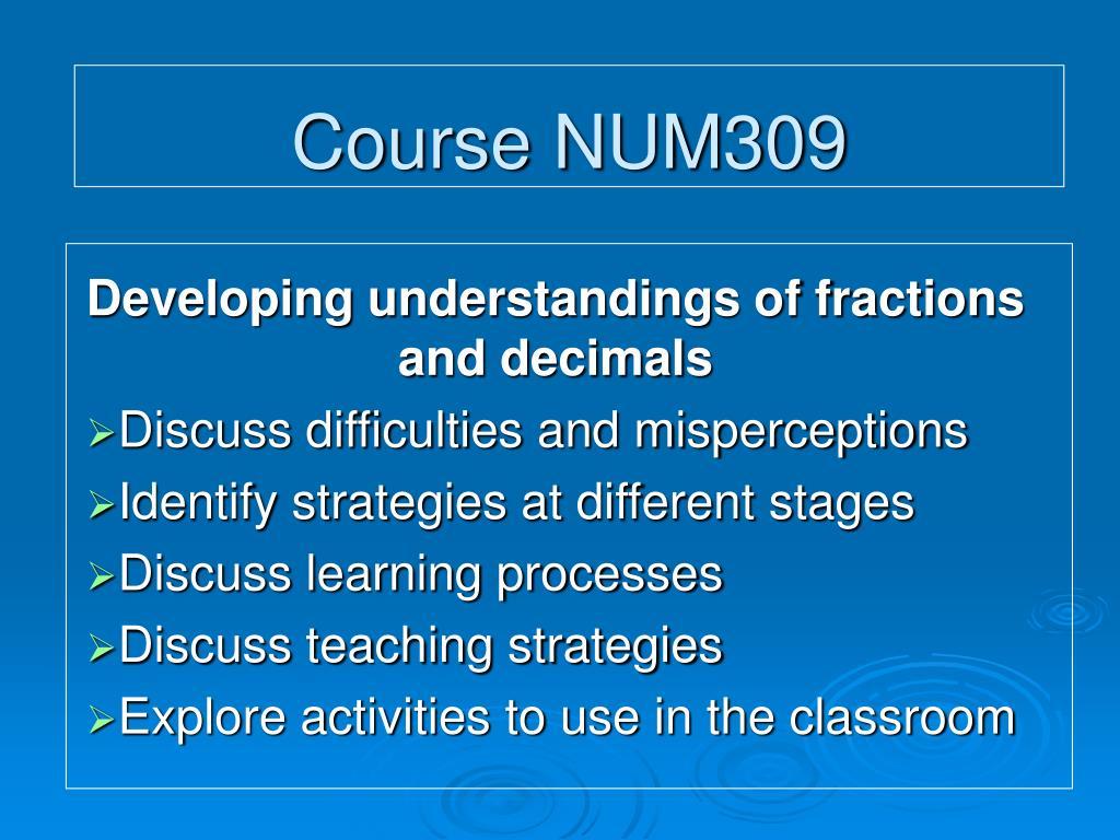 Course NUM309