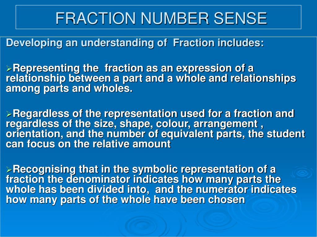 FRACTION NUMBER SENSE