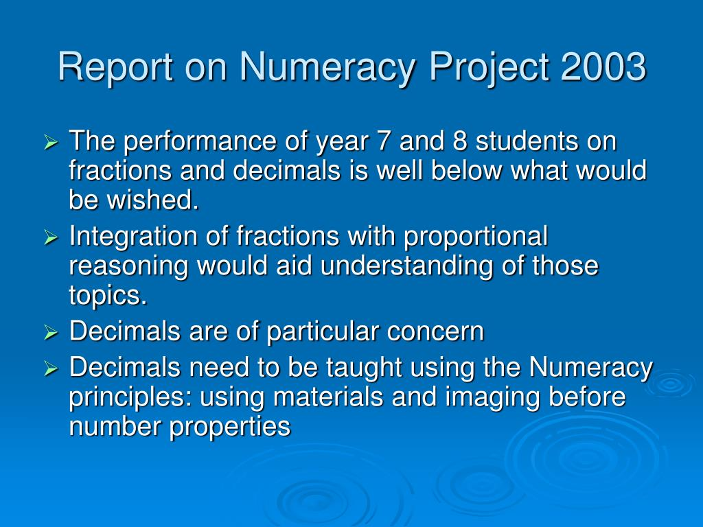 Report on Numeracy Project 2003