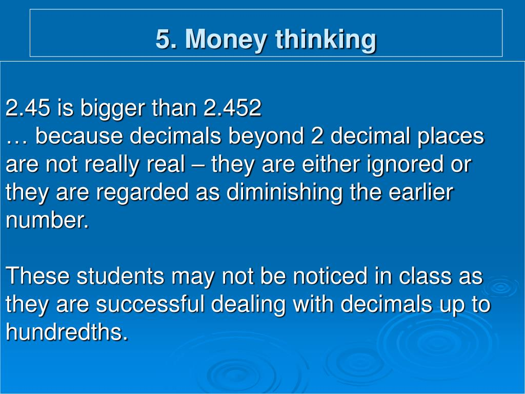 5. Money thinking