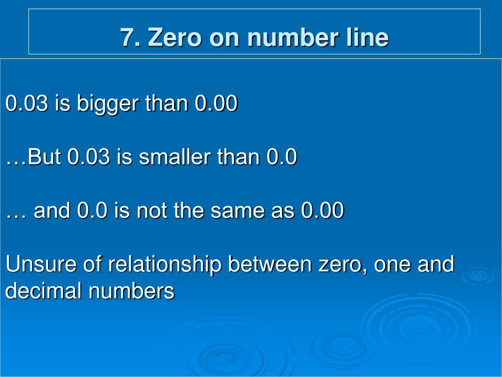 7. Zero on number line