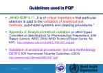guidelines used in pqp